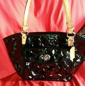 Coach black patent embossed Leah bag